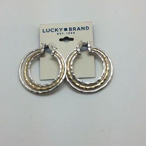Lucky Brand Gold & Silver Hoop Earrings